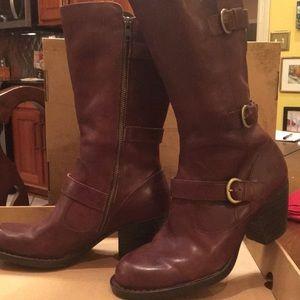 Born Brown Maleri Mid-calf Leather Boot